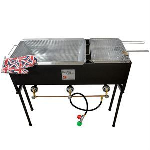 this outdoor fish fryer by carolina cooker has two separate frying vats and three baskets to prevent carry over food taste