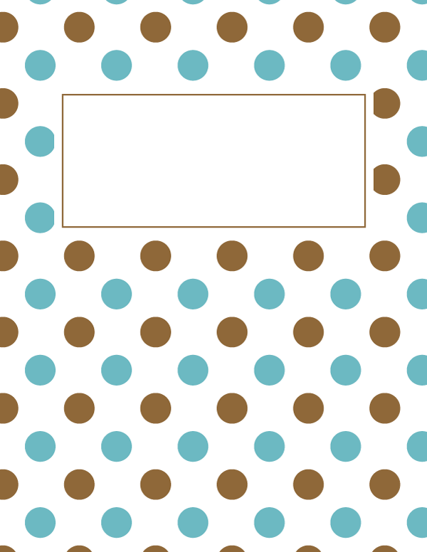 Free printable blue and brown polka dot binder cover template ...