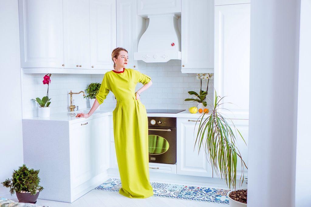 Купить Льняное с шелком платье - салатовый, однотонный, платье, платье в пол, платье коктейльное