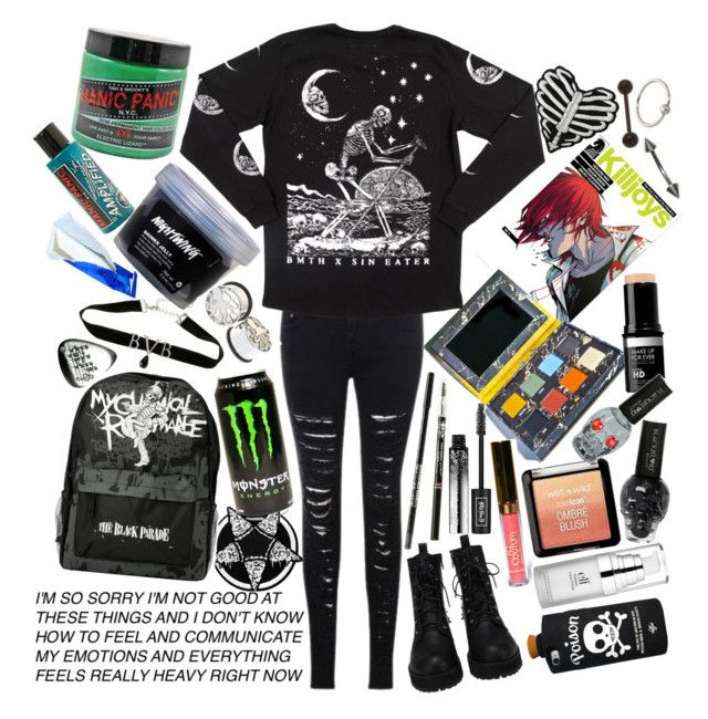 """""""Don't trust a perfect person and don't trust a song that's flawless"""" by thelyricsmatter ❤ liked on Polyvore featuring Manic Panic NYC, LASplash, Kat Von D, Lime Crime, Wet n Wild and e.l.f."""