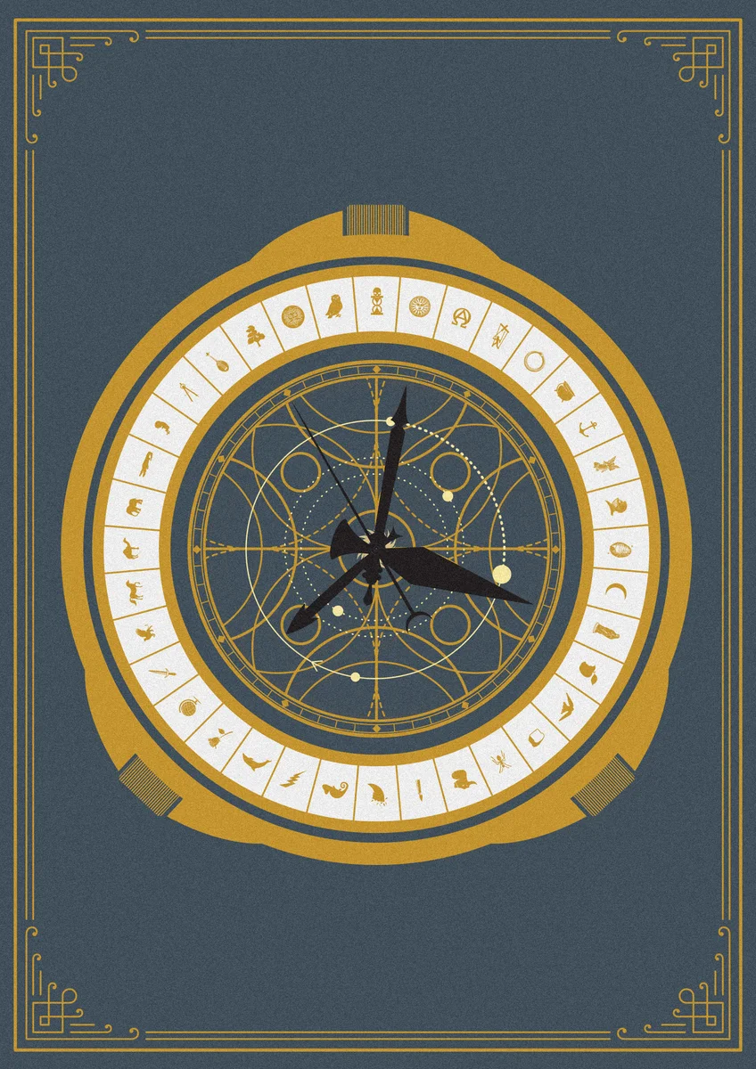 This illustrated print is inspired by the Alethiometer (The Golden Compass) from Phillip Pullman's His Dark Material's Trilogy (Northern... #hisdarkmaterials