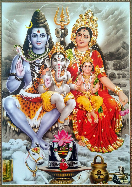 Lord Shiva With His Family Artist C Vishnu Via Ebay Indian Ash Lord Shiva Statue Lord Shiva Family Shiva Parvati Images