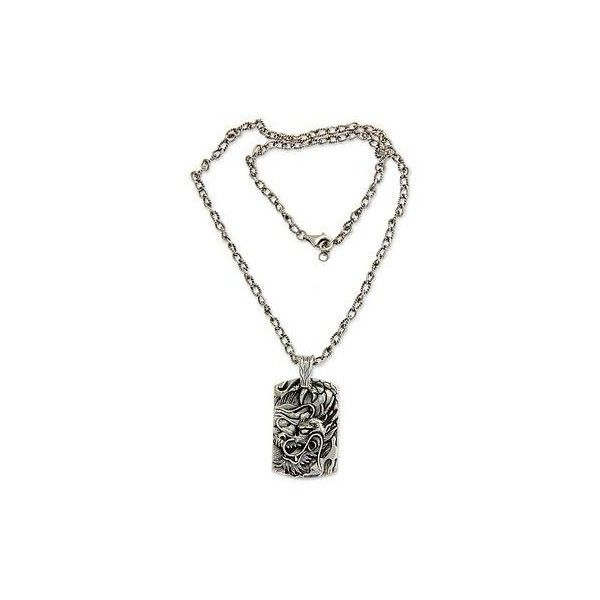 Novica mens silver dragon pendant necklace from bali 183 novica mens silver dragon pendant necklace from bali 183 liked on polyvore featuring aloadofball Images