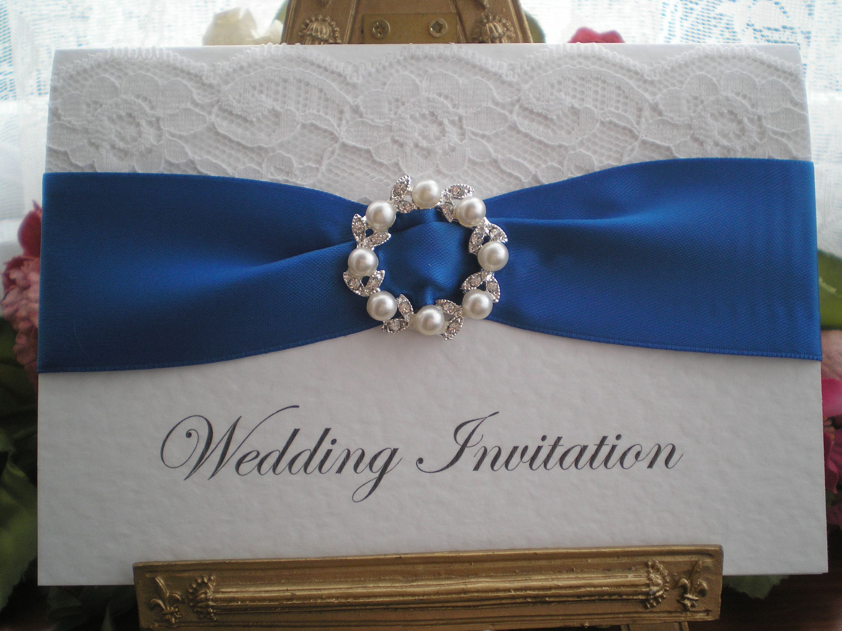 R0019d Lace Royal Blue Wedding Invitation Pearl Diamante Buckle ...