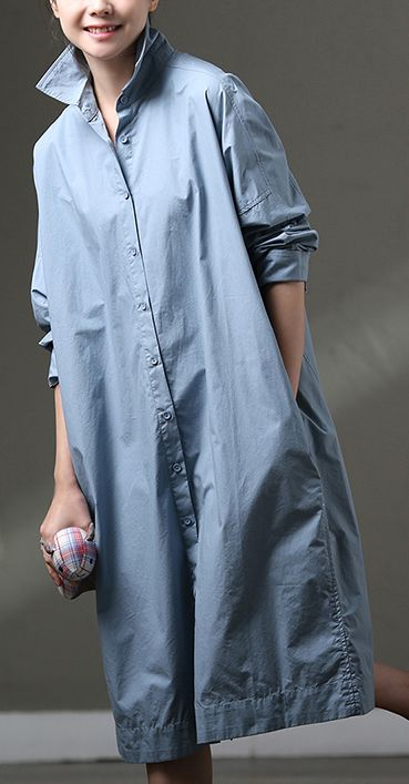 Photo of boutique blue cotton dress plus size clothing shirt dress big pockets long sleev…