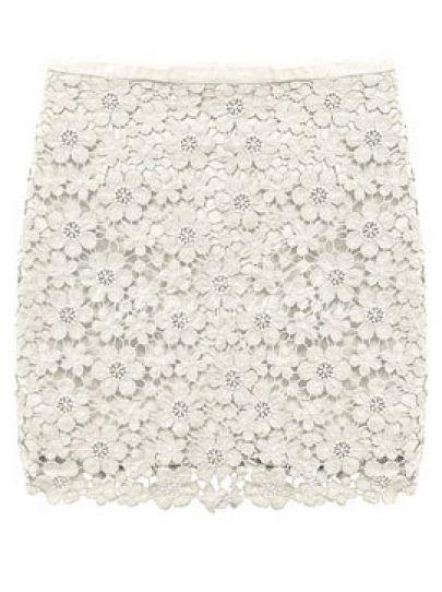 Beige Crochet Lace Skirt
