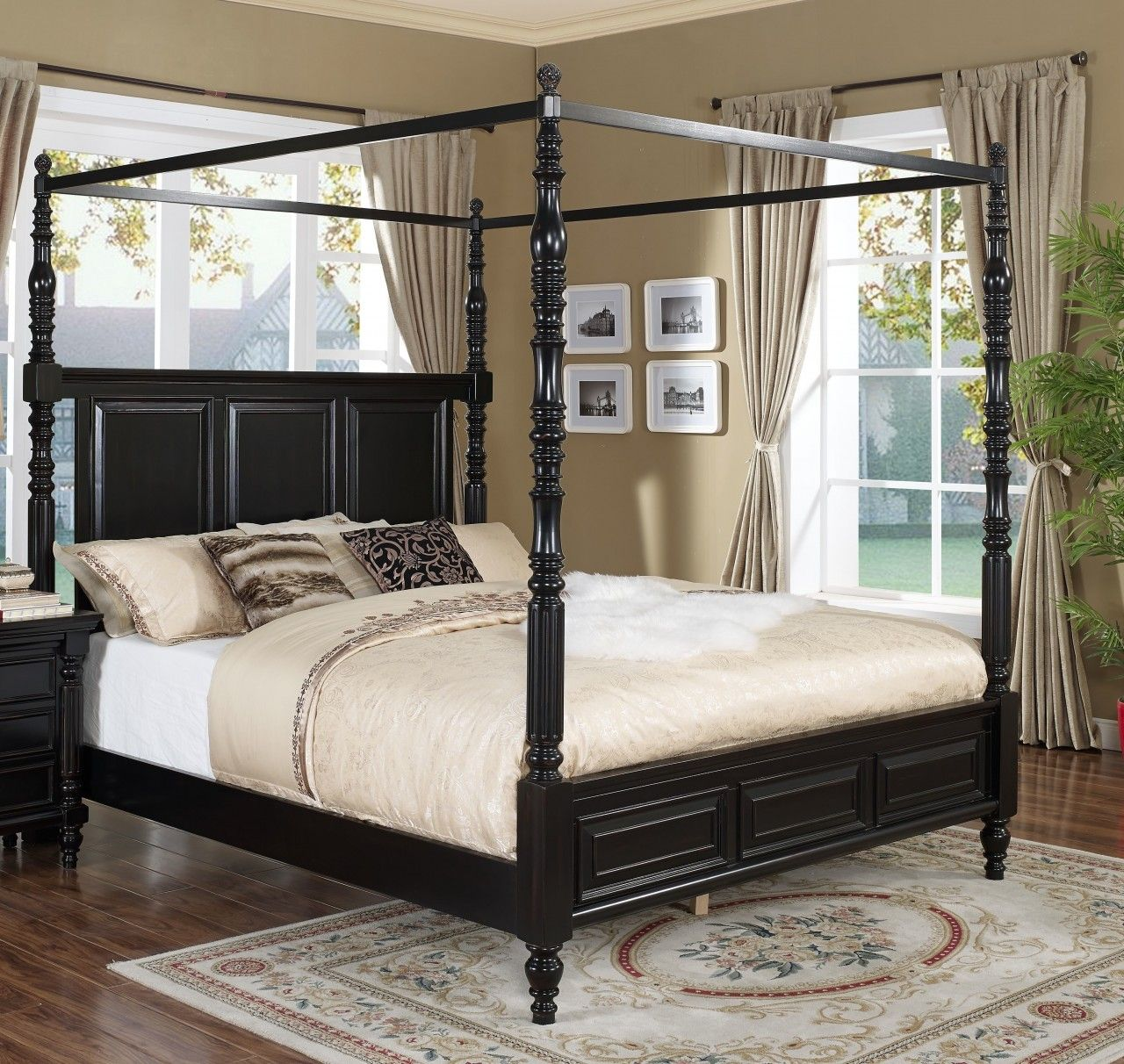 Black canopy bed curtains - New Classic Martinique Queen Canopy Bed With Drapes In Rubbed Black 00 222 311q