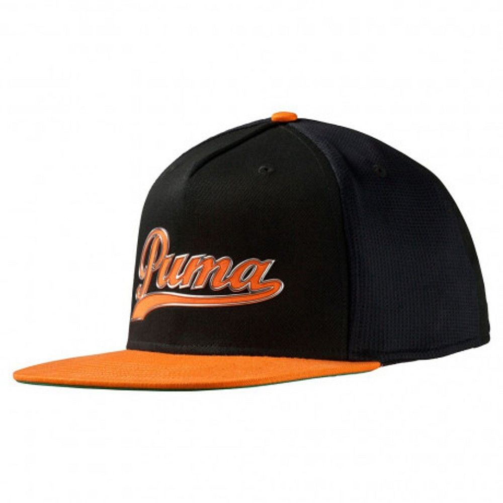 8bc729b4b09d5 Puma Script Snapback Cap Black Orange One Size in 2019