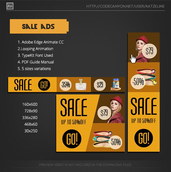 Ads Promotion Banner Animation Adobe Edge Animate Template