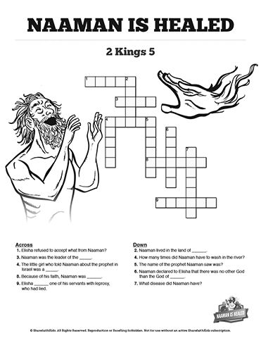 Naaman and elisha coloring pages ~ Naaman The Leper 2 Kings 5 Sunday School Crossword Puzzles ...