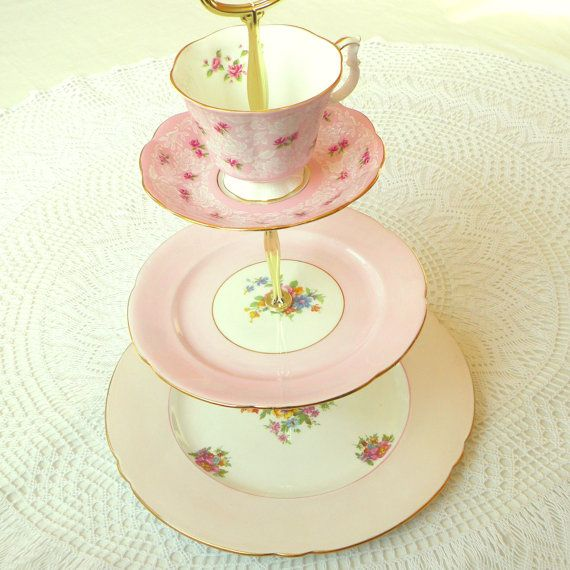 Alice Makes Icing Vintage China Pale Pink Cake Plate Or Cupcake