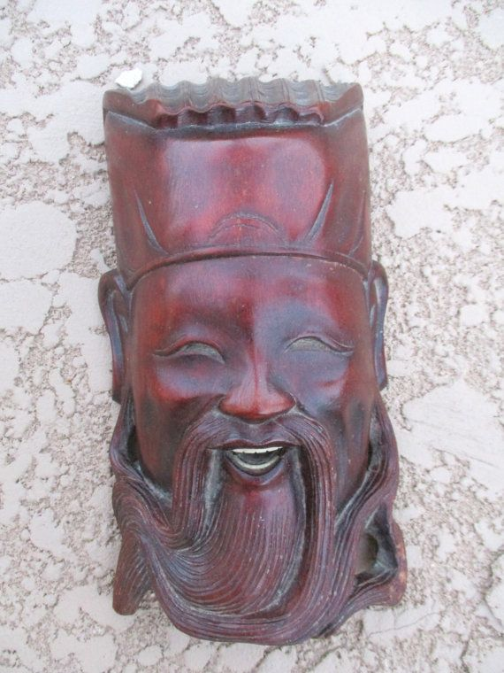 Asian Antiques Other Asian Antiques Vintage Asian Wooden Hand Carved Mask