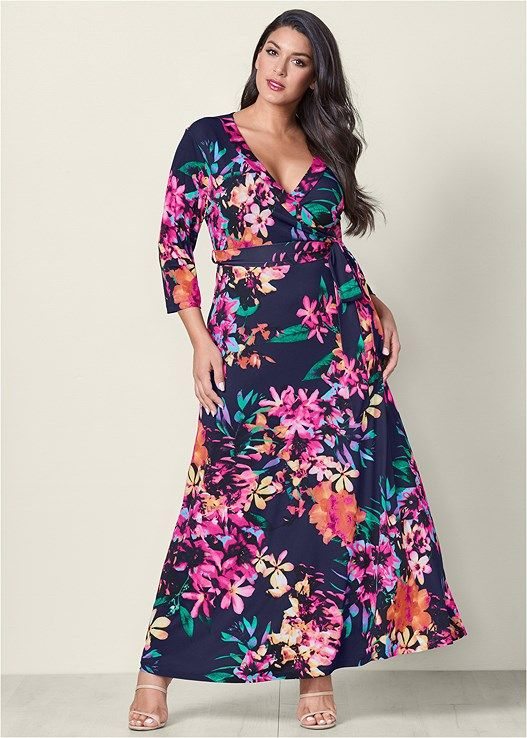FLORAL PRINT MAXI DRESS, HIGH HEEL STRAPPY SANDAL | Clothing ...