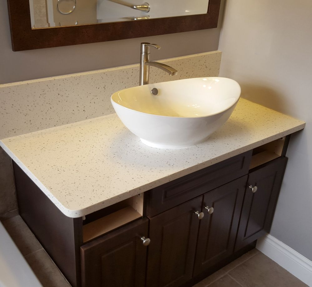 Bathroom vanity countertop using Iced White Quartz and a