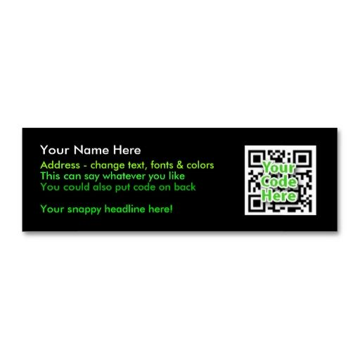 2D Code Business Cards - Skinny, Black Business cards, Card - address change template