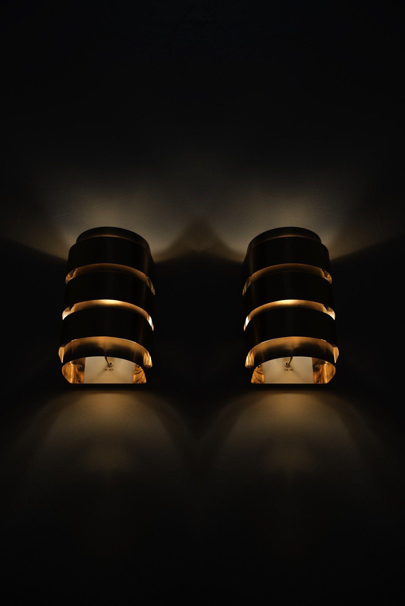 Hans-Agne Jakobsson wall lamps model V-155 in copper at Studio Schalling