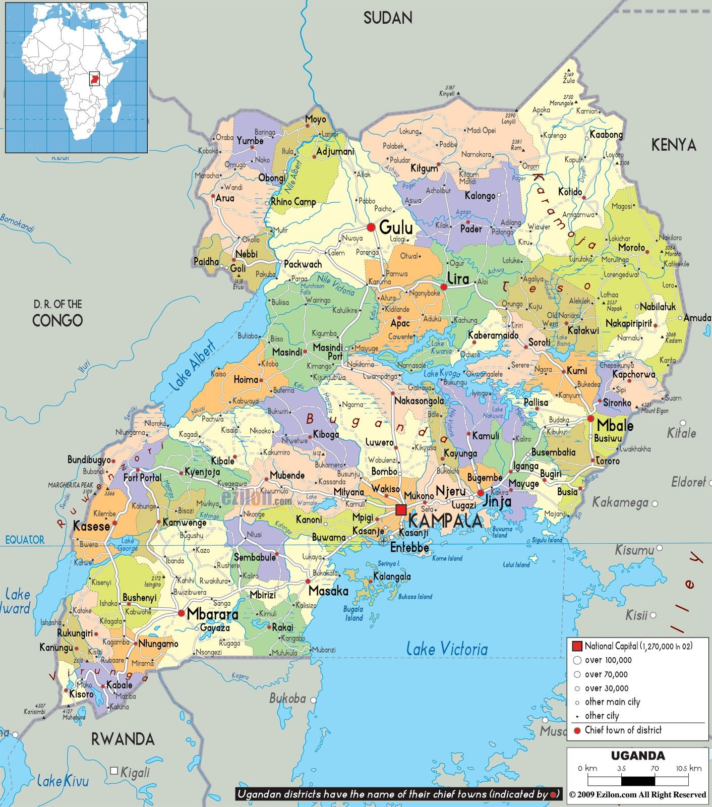 google world map uganda
