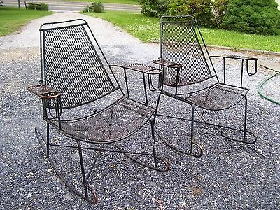 Vtg Mid Century Patio Wrought Iron Salterini Rocking Chairs Pair W