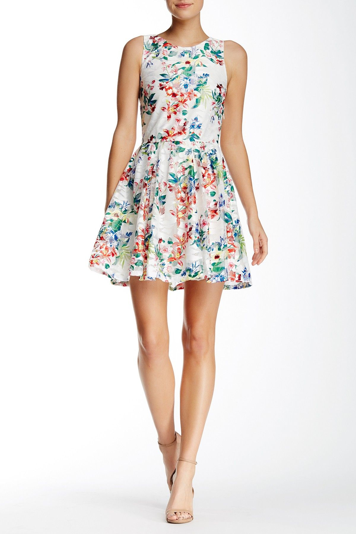 Sleeveless Printed Lace Fit & Flare Dress by Love...Ady on @nordstrom_rack