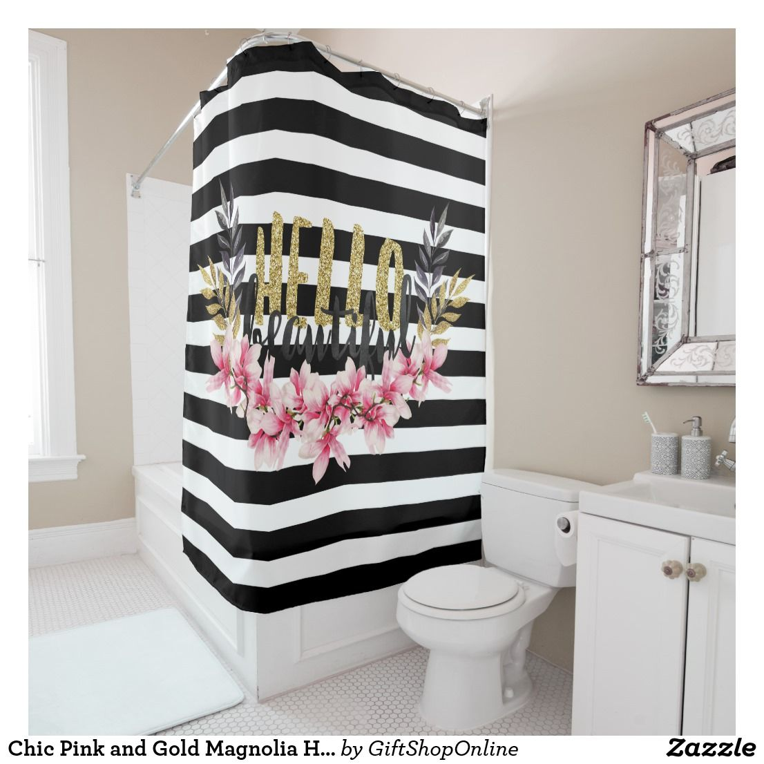 Chic Pink And Gold Magnolia Hello Beautiful Shower Curtain