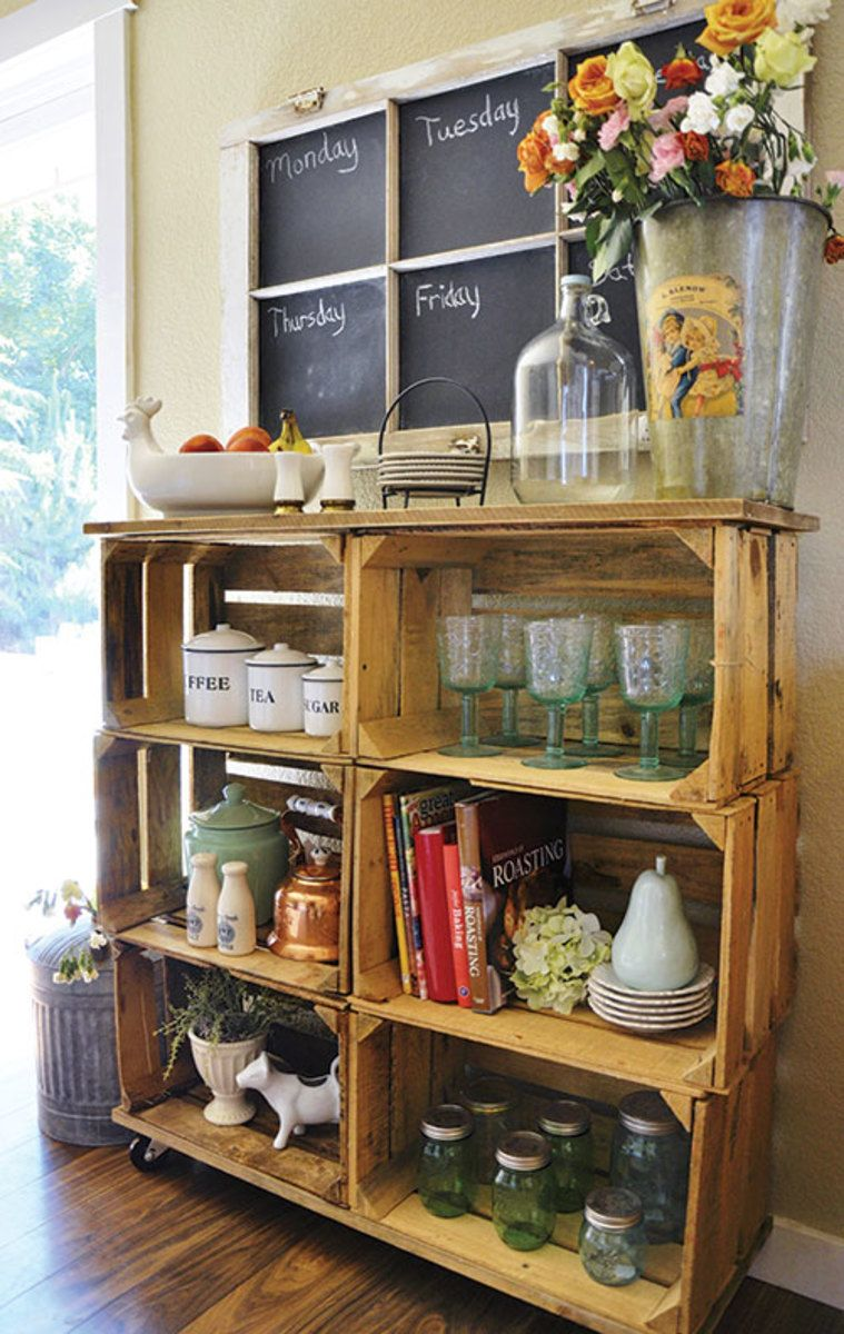 Make Shelves Out Of Wooden Crates Wooden Crate Shelves Crate Furniture Crate Decor