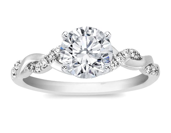 Engagement Ring - Round Diamond Petite twisted pave band Engagement Ring in  14K White Gold -