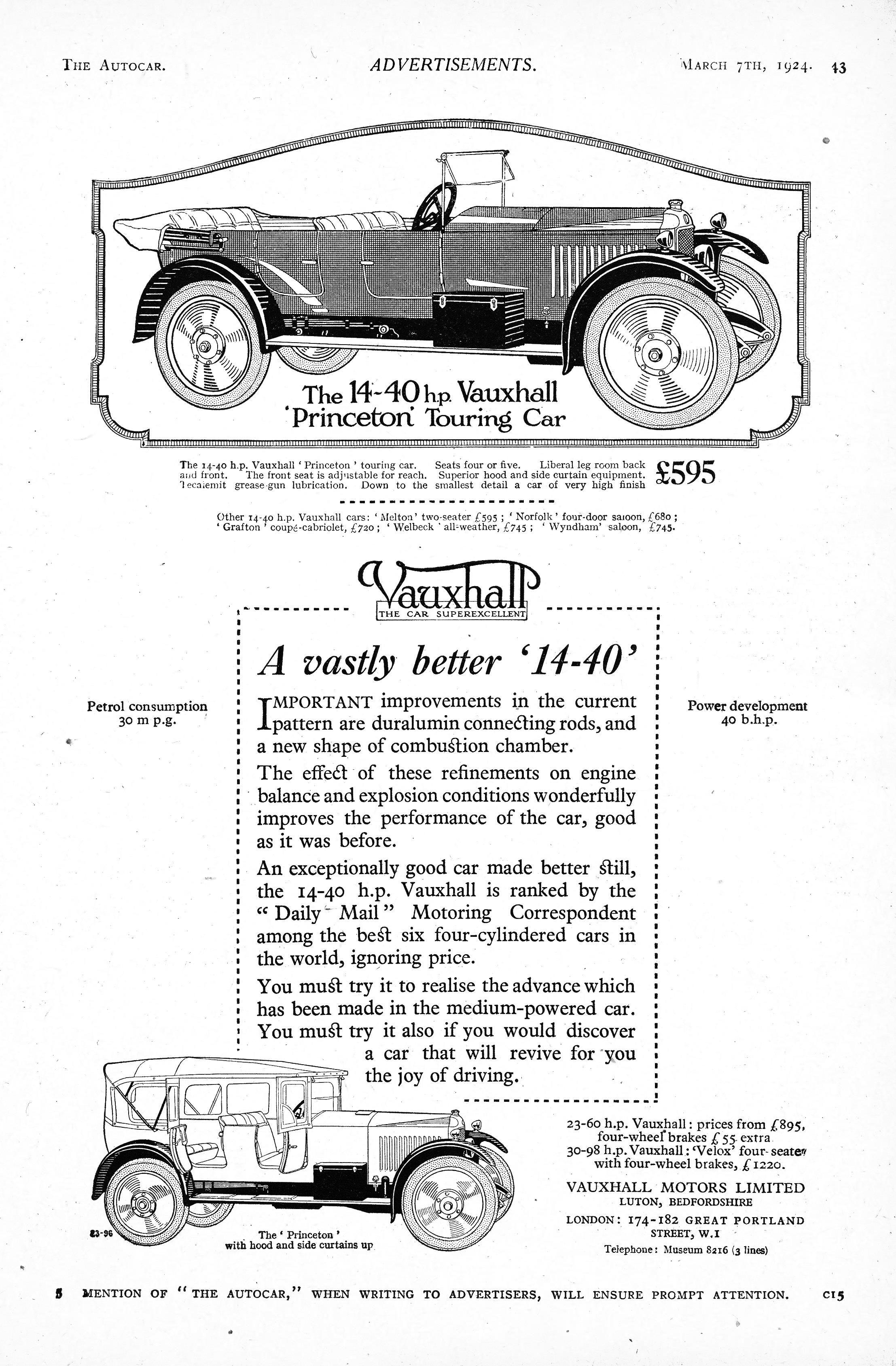 vauxhall 14 40 motor car autocar advert