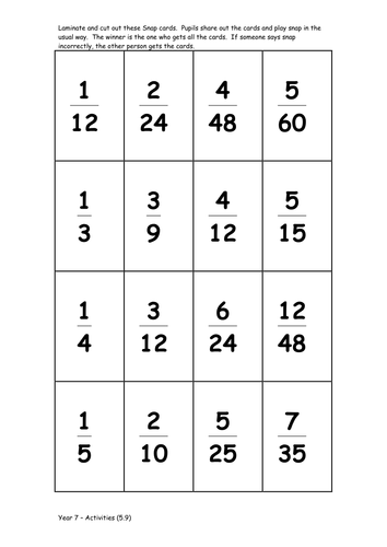Equivalent fractions Snap Game. It\'s printable and ready for the ...