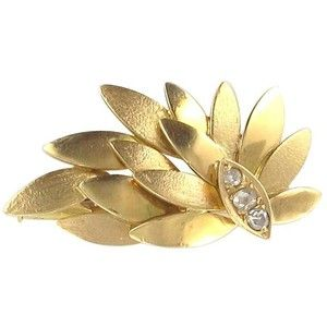 Preowned 1970s Diamond Gold Leaf Brooch