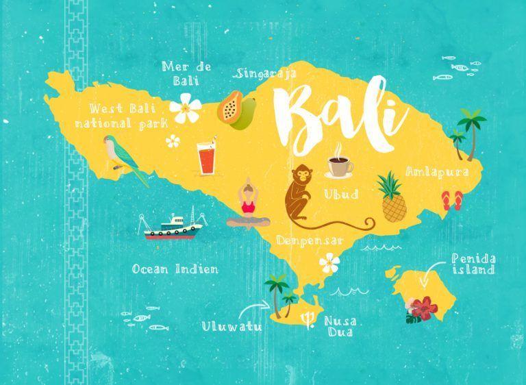 Carte Bali Mer.Carte De Bali Balidestination Bali Destination In 2019