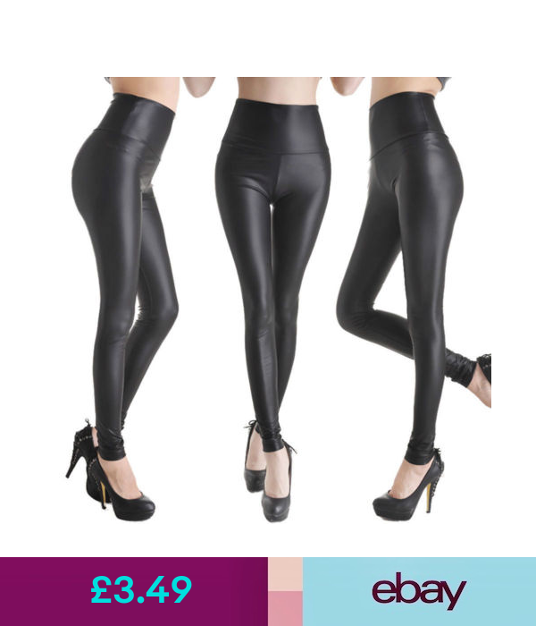 Womens Ladies High Waisted PVC Leather Wet Look Leggings Pants Plus Size 8-24
