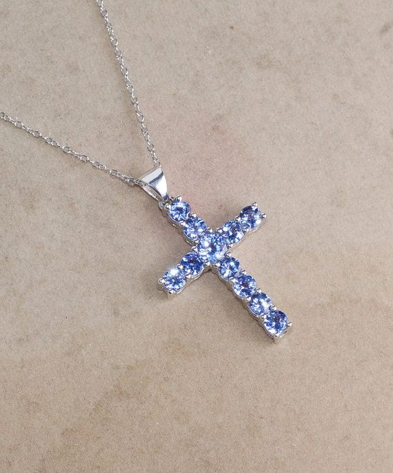 Tanzanite necklace 925 sterling silver pendant 18 inch chain tanzanite necklace 925 sterling silver pendant 18 inch chain necklace cross pendant aloadofball Choice Image