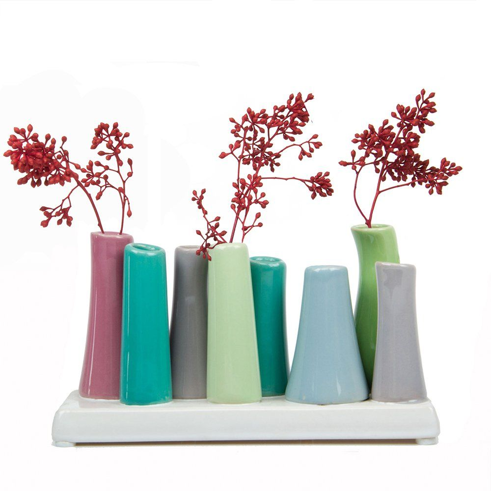 Green with Purple Grey and Pooley 2 8-Tube Shape Chive Ceramic Flower Vase