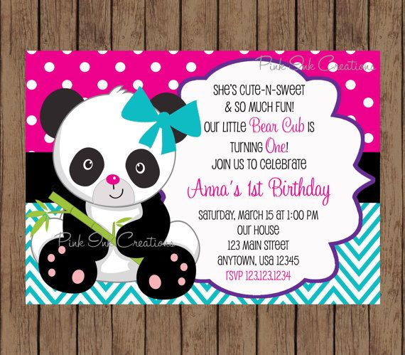 Panda Bear Birthday Invitation - boy or girl - Any Color or Age ...