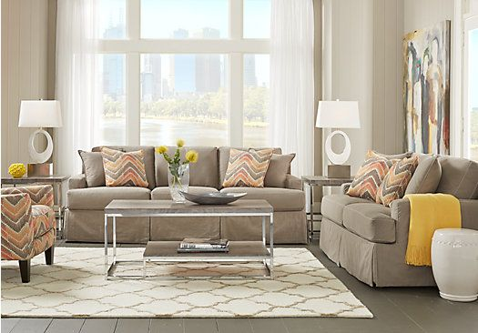 Shop For A Cindy Crawford Home Cape May Smoke 7 Pc Living Room At Rooms To