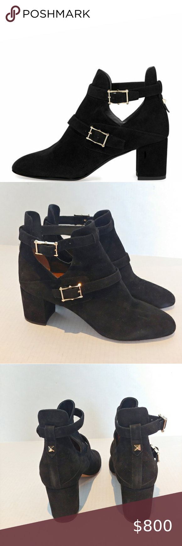 Valentino Suede Double-Buckle Black Ankle …