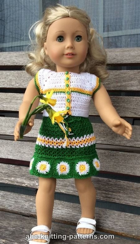 ABC Knitting Patterns - American Girl Doll Fields of Daisies Skirt ...