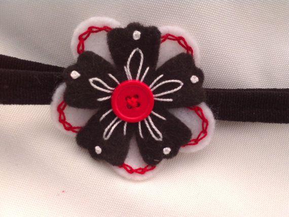 Baby Headband, Girl headband, White, Black, and Red Hand Embroidered Flower,  Photo-prop, Newborn, Free Shipping