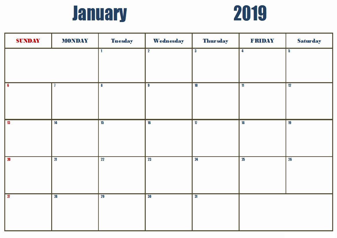 january 2019 basic calendar printable january 2019 calendar