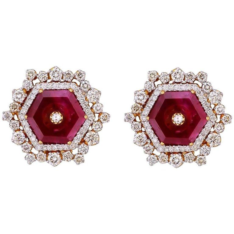 Ruby Diamond Gold Stud Earrings From A Unique Collection Of Vintage At Https