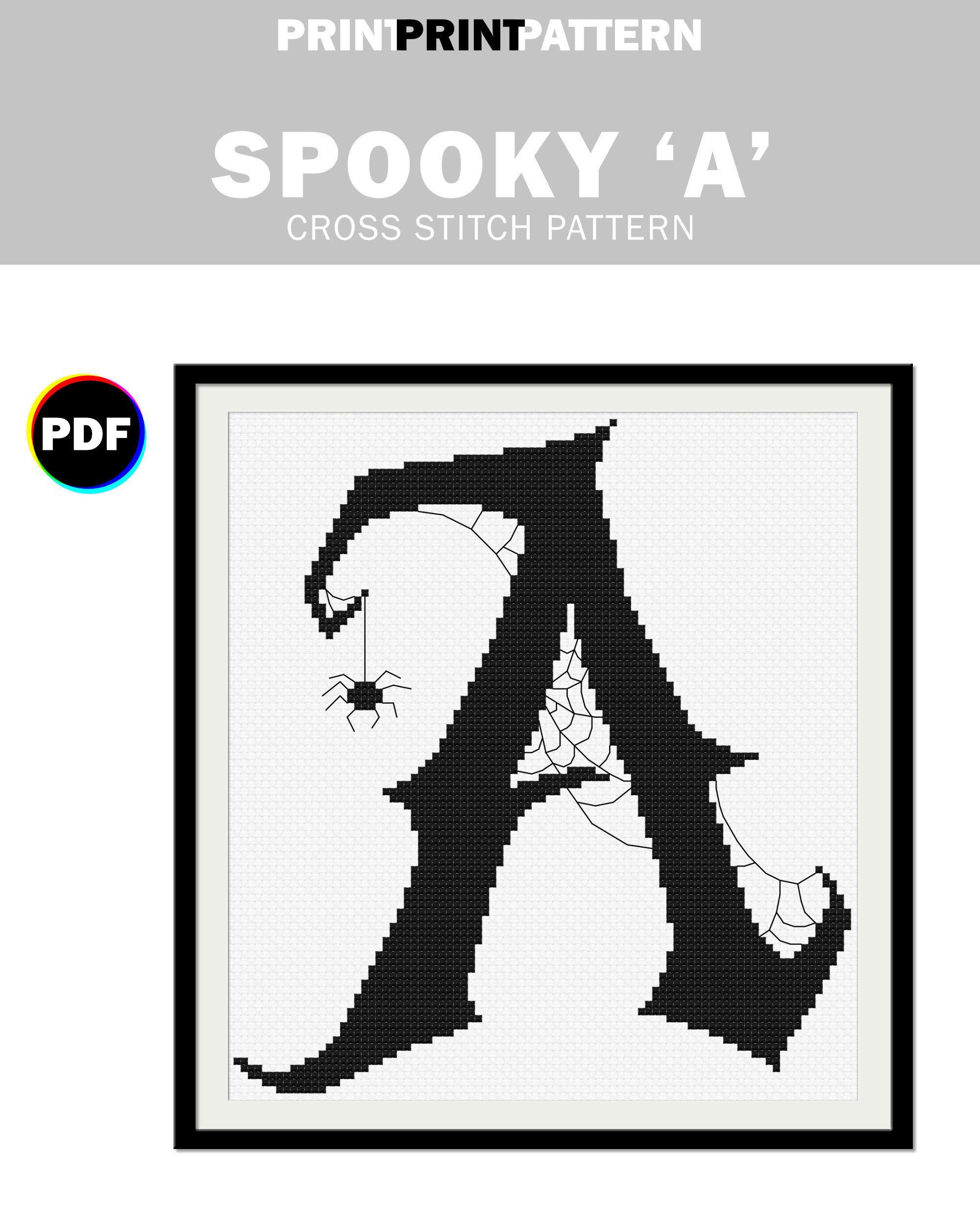 Spooky Letter A Cross Stitch Pattern Halloween Monogram