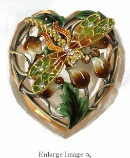 Dragonfly Jewelry Box Jeweled Brown And Green Dragonfly Jewelry