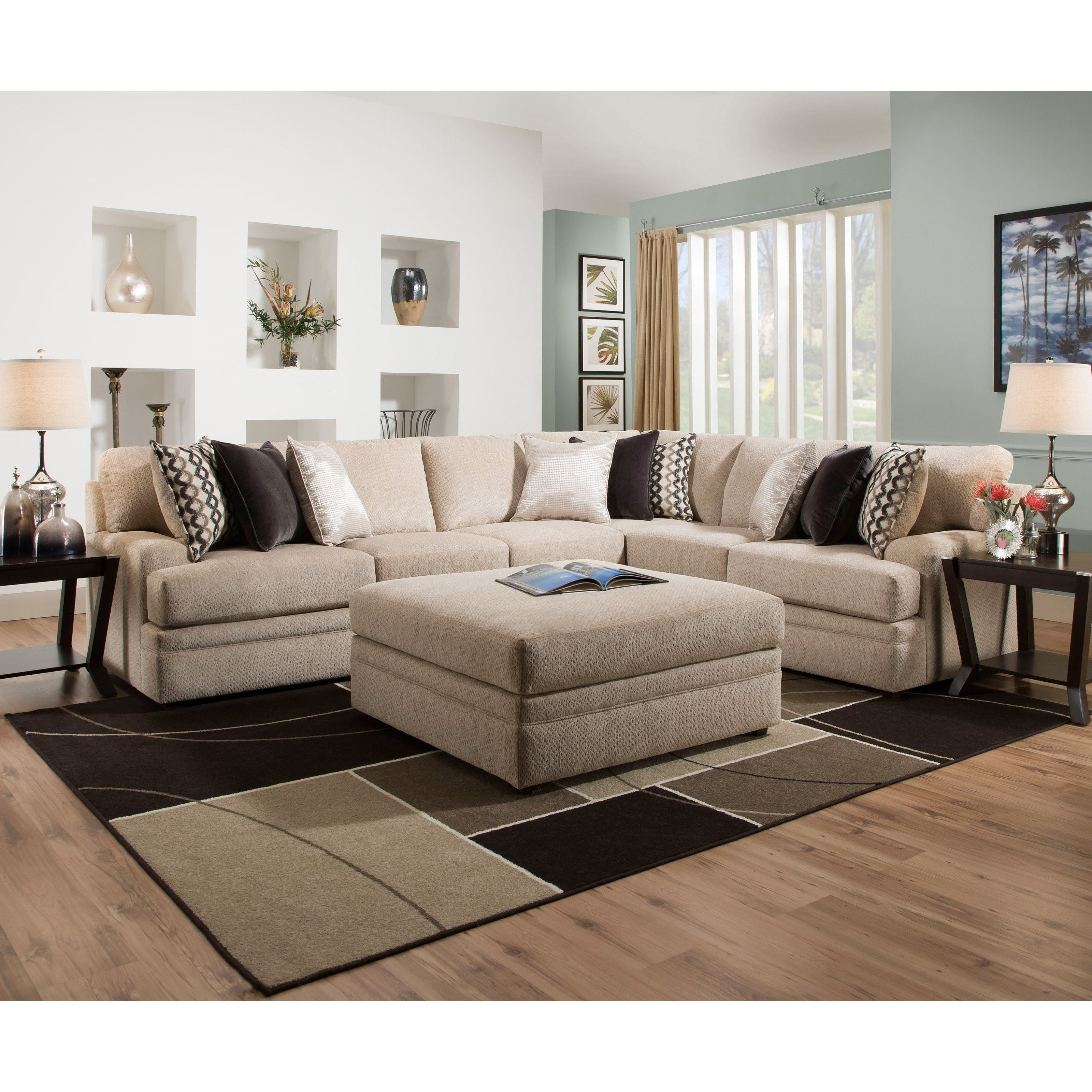 Simmons Upholstery Bellamy Putty Sectional Udf491 Furniture Living Room Furniture Living Room Sets