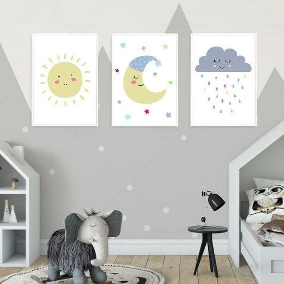 Cute Cloud Sun Moon Stars Nursery Art Prints Set Of 3 Pastel