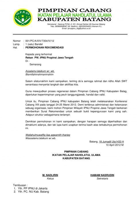contoh surat permohonan rekomendasi berita pimpinan