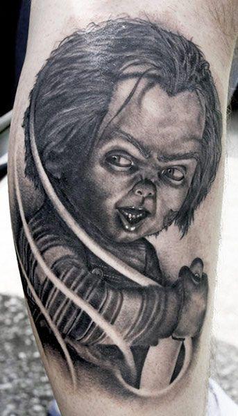 Chucky Tattoo By Tye Harris Post 6100 Horror Tattoo Movie Tattoo Movie Tattoos