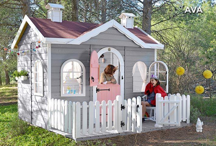Casita de madera para ni os con terraza ava casitas de for Casitas de jardin