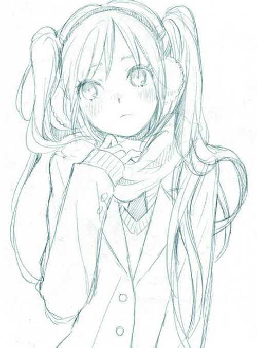 Anime art ✮ girl coat scarf earmuffs cold blushing long hair twin tails moe drawing doodle pencil graphite