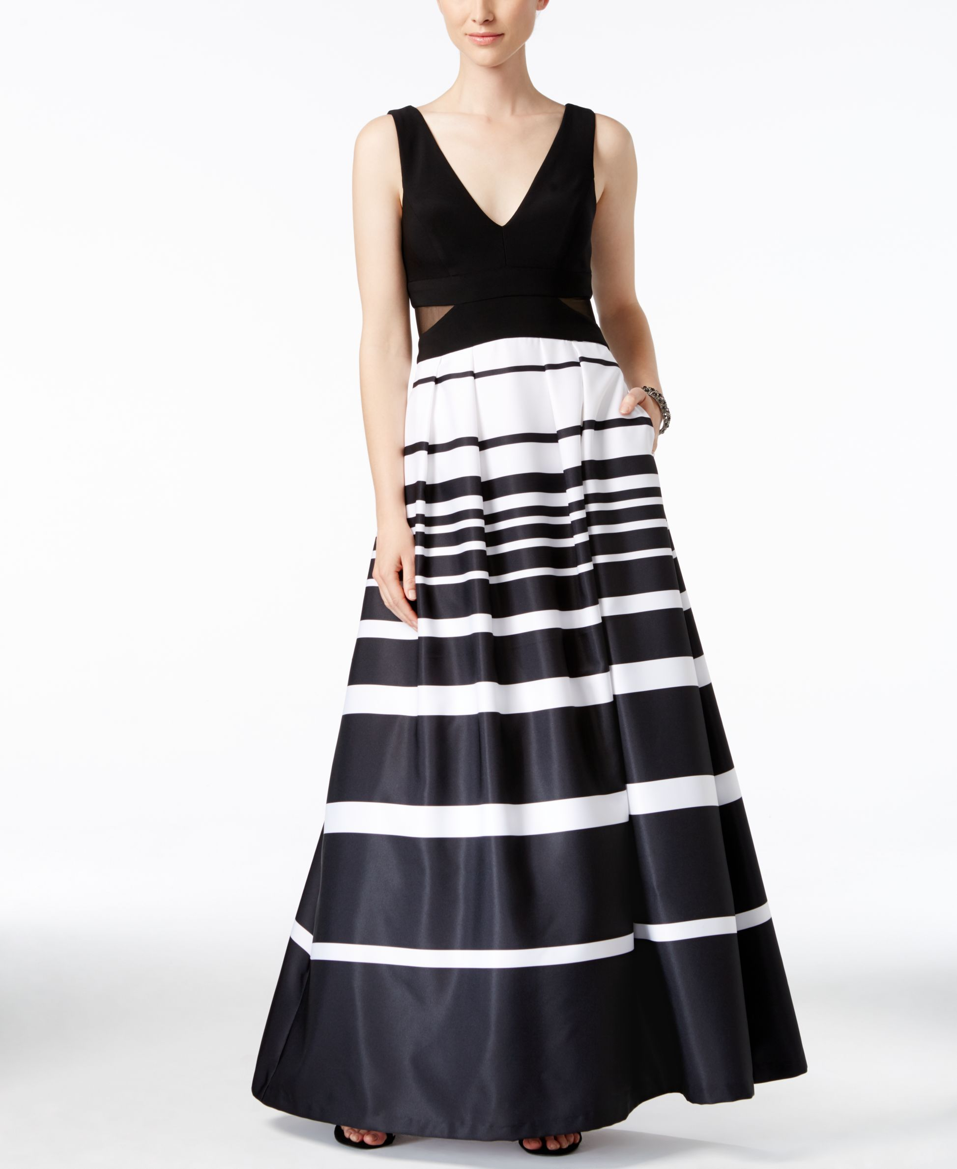 Xscape Illusion-Inset Striped Ball Gown | Illusions, Ball gowns and ...