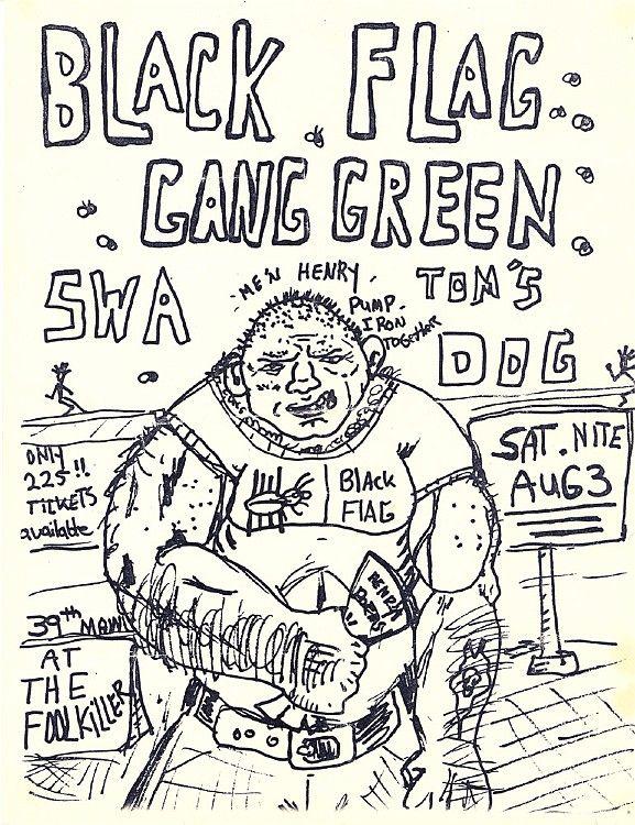 Black Flag Gang Green Kansas City Foolkiller Punk Poster Black Flag Rock Posters
